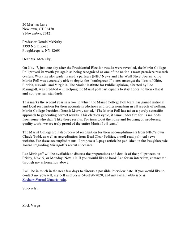 Press Release/Cover Letter Example - Zack Varga's Public Relations ...